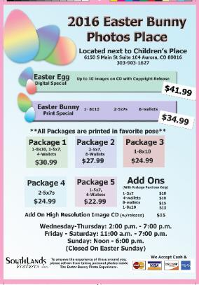 Easter Bunny Photo packages & pricing